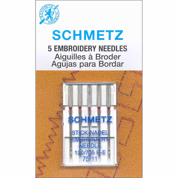 Pack of 5 sewing machine embroidery needles in packaging (11/75)