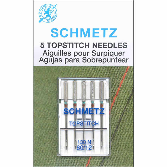 Set of 5 topstitch sewing machine needles in packaging (12/80)