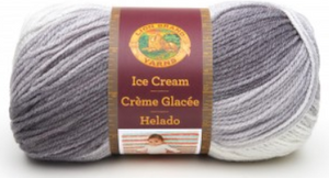 Ball of Lion Brand Ice Cream in colourway Cookies and Cream (mid grey-brown, light grey, white)