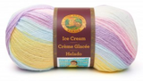 Ball of Lion Brand Ice Cream in colourway Cotton Candy (white, pastel shades of yellow, blue, purple, and pink)