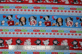 Flat swatch happy helpers 2 fabric (thick blue stripes with cartoon dogs and medical equipment, thick red stripe with cartoon cats and mice with medical equipment, separated by white striped with hearts/beat lines, coloured band-aids, etc.)