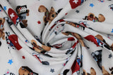 Swirled swatch first aid friends fabric (white fabric with tossed cartoon dogs and cats in white, black, grey, tan colours with first aid kits red with white plus, medical charts, x-rays, etc. and tossed stars in grey, blue, red)