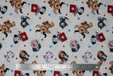 Flat swatch first aid friends fabric (white fabric with tossed cartoon dogs and cats in white, black, grey, tan colours with first aid kits red with white plus, medical charts, x-rays, etc. and tossed stars in grey, blue, red)