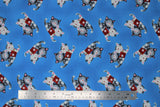 Flat swatch comfort kitties fabric (bright medium blue fabric with tossed cartoon grey and white snuggly kitties with red first aid kits)