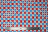 Flat swatch bandage fabric (white fabric with alternating stripes of bandage x's made from blue and red bandages)