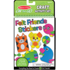 Grab and Go Craft Activity Set: Felt Friends Stickers. Simple shapes form cartoon animals such as cat, bird, dog and seal in bright green, yellow, orange, pink and blue