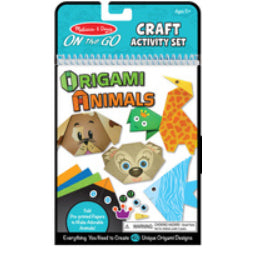 Grab and Go Craft Activity Set: Origami Animals. Pictures of folded paper animals including a dog, frog, giraffe and fish, as well as fanned paper sheets and googly eyes.