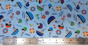 Group swatch cartoon nautical printed fabric in various colours