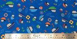 Flat swatch cartoon nautical printed fabric in teal