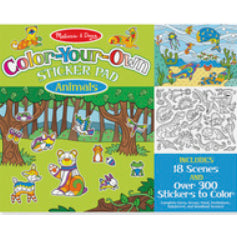 Color-Your-Own Sticker Pad - Animals, Features 18 Scenes and Over 900 Stickers to Color.  Illustration includes a forest scene and an underwater scene