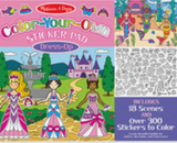 Color-Your-Own Sticker Pad - Dress-Up, Features 18 Scenes and Over 900 Stickers to Color. Illustration includes a castle/princess scene and an underwater mermaids scene