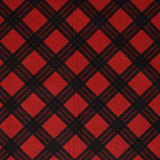 Square swatch of red and black diamond plaid