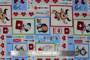 Group swatch assorted animal and medical themed printed fabrics in various styles/colours