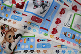 Raw hem swatch happy helpers fabric (white fabric with cartoon dogs and cats with medical equipment in primary coloured frames, various medical emblems in full colour: scissors, syringe, red hearts with beat lines, pills, bottles, etc.)