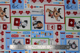 Flat swatch happy helpers fabric (white fabric with cartoon dogs and cats with medical equipment in primary coloured frames, various medical emblems in full colour: scissors, syringe, red hearts with beat lines, pills, bottles, etc.)