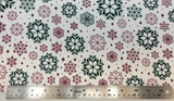 Flat swatch snowflake variety printed fabric in green