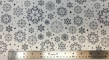 Flat swatch snowflake variety printed fabric in grey
