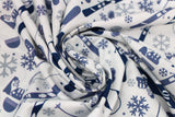 Swirled swatch - snow sports printed fabric in blue