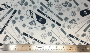 Group swatch cartoon ski equipment printed fabric in various colours