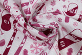 Swirled swatch - snow sports printed fabric in pink