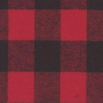 Swatch of red and black small check buffalo plaid flannel