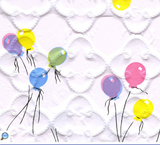 Colourful balloons printed on white quatrefoil-quilted vinyl
