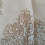 Square swatch bare forest trees and silhouettes printed upholstery fabric (white fabric with beige and tan trees)