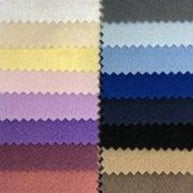 Two columns of swatches of polar fleece, including purples, yellows, and blues