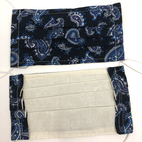 Front and back photo: pick your print face mask (Navy blue mask with blue paisley pattern and white elastic ear loops)