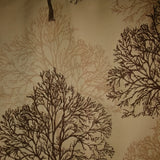 Square swatch bare forest trees and silhouettes printed upholstery fabric (light brown with beige and dark brown trees)