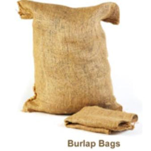 "A filled burlap bag sits against a white background.  An empty, folded burlap bag lies in front of it, with the words ""Burlap Bags"" below them."