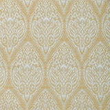 Upholstery swatch featuring white damask over a gold background