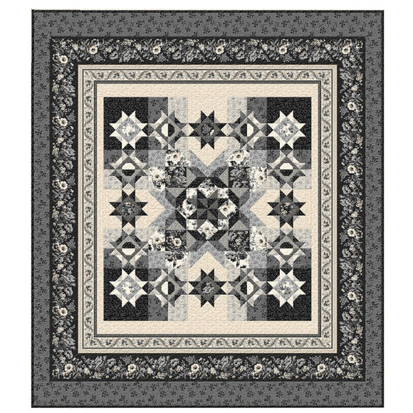 Full swatch completed Twin Quilt DIY (Blackwood Cottage) white/grey/black floral quilt