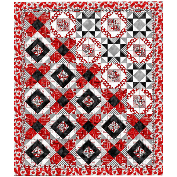 Quilt swatch completed Town & Country DIY (Canadian themed red, white, and black quilt)