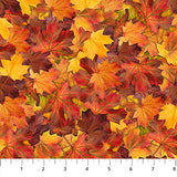 Square swatch autumn themed printed fabric in Autumn Leaves (layered orange, yellow, and red leaves)