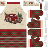 Square swatch Vintage Truck Apron and Oven Mitts panel (beige apron, plaid bottom, plaid mitts)