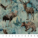 Swatch of teal wildlife fabric