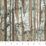 Swatch of brown birch trees fabric