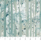 Swatch of blue birch trees fabric
