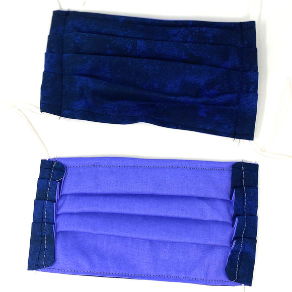 Front and back photo: pick your print face mask (Dark blue marbled look face mask with white elastic ear loops)