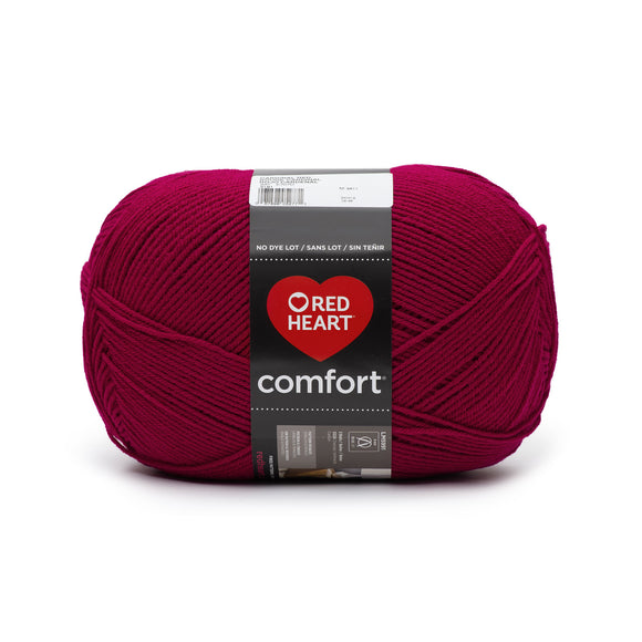 A ball of Red Heart Comfort in colourway Cardinal Red