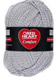 Ball of Red Heart Comfort (Shimmer) in Grey/Aran Marl (white/light grey marled yarn)