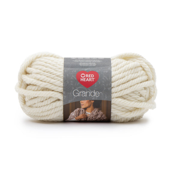 Ball of Red Heart Grande in colour Aran (off-white)