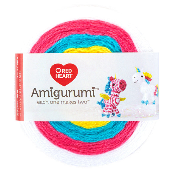 Unicorn (white, pink, blue, yellow) cake of Red Heart Amigurumi