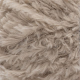 Swatch of Red Heart Hygge Fur textured yarn in soft taupe