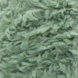 Swatch of Red Heart Hygge Fur textured yarn in leafy (pale medium green)