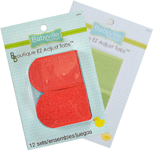Fanned packages of different colour options of Babyville Boutique EZ Adjust Taps (rounded velcro or hook and loop tabs slightly longer than they are wide, with one rounded end and one square end)