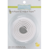 Package of Babyville Boutique EZ Adjust Tape - Loop: 1 1/2 in x 1 yd; Hook 1 1/2 in x 1/2 yd.  The white hook and loop sides of the velcro are coiled together in a circle.
