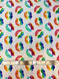 Flat swatch white fabric with rainbow coloured metallic lipstick mark (kisses) print