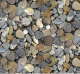 Square swatch The Great Outdoors Flannel in mixed pebbles (stacked assorted pebbles collage grey/brown tones)